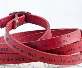 Dr Seuss Weirdness Love Quote Leather Bracelet cropped
