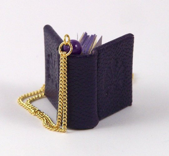 Purple Leather Mini Book Pendant